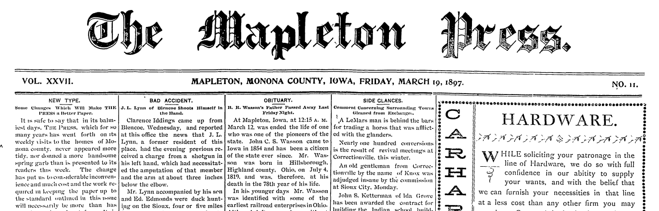 Fisher-Whiting Memorial Library Digitizes Newspaper Archives