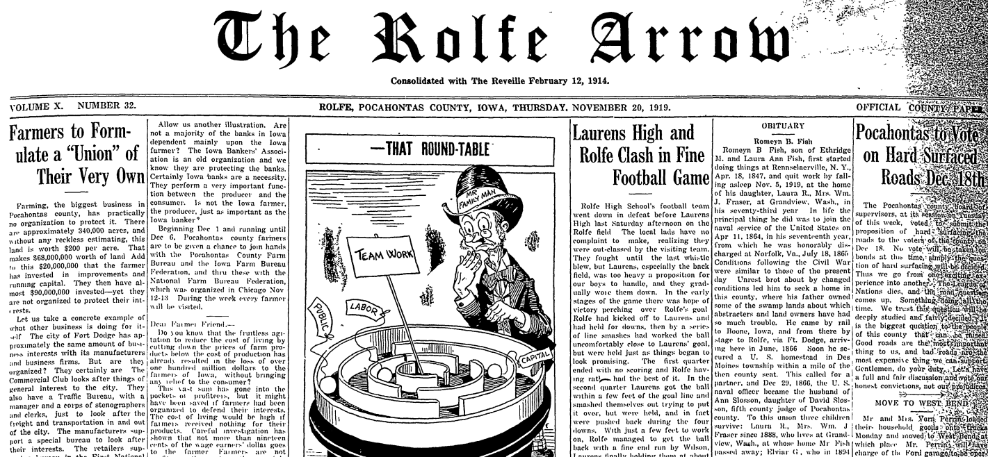 101 Years of Rolfe, Iowa, Newspapers are Available Online