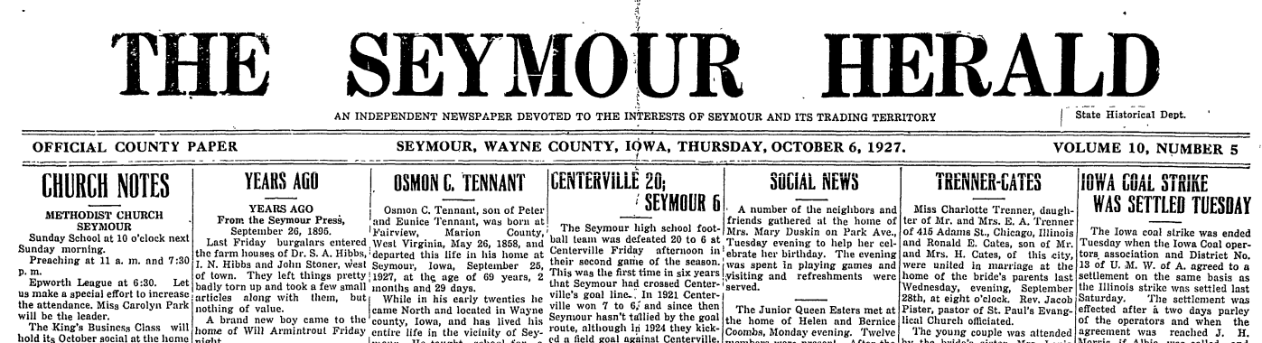 The Historic Newspapers Of Seymour Online