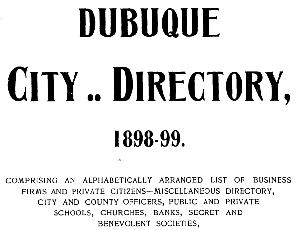 Dubuque City Directories Available Online