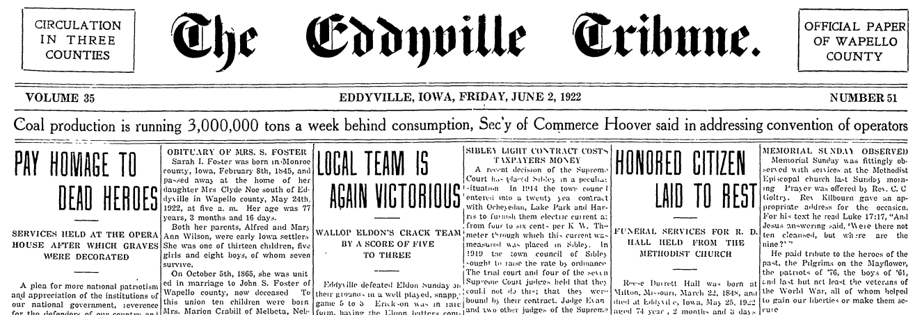 Friends of the Eddyville Public Library Launch Newspaper Archive